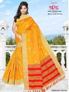 Orange Cotton Printed Party Designer Saree