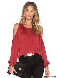 Red Satin Self Western Wear Top