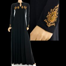 Embroidered Golden Paisley Sleeves Abaya