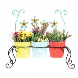 Wonderland Chair Planter With 3 Colorful Metal pots