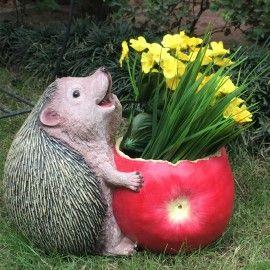 Wonderland Fat Hedgehog eating apple Flower Pot