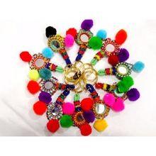 Mirror Beads Work Key Chain Ring
