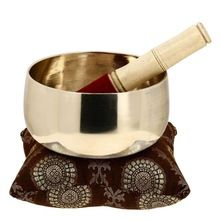 Singing Bowl Brass 5inches with Leather stick and cushion