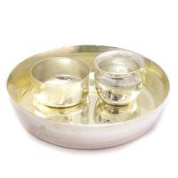 Liquor Polish Stainless Steel Puja Plate & Bowl