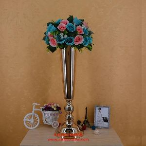 Tall Metal Gold Flower Vase