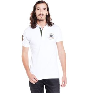 Cotton White Collar Branded Mens T Shirts