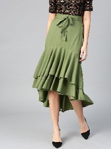 Ladies Green Short Skirt