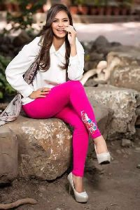 Charming Cotton Lycra Fabric Embroidered Legging
