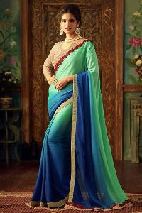 Designer Georgette Silk Embroidered Work Sarees