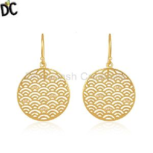 Gold Plated Sterling Plain 925 Silver Designer Girls Earring