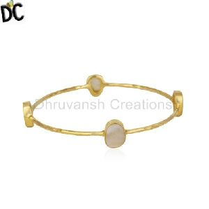 Pearl Gold Plated Brass Fashion Stackable Bangle