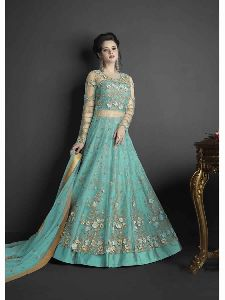 Indian Latest Designer Turquoise Blue Color Net Semi Stiiched Salwar Suit