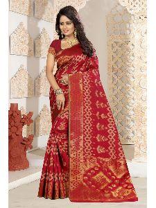 New Stylish Indian Designer Kanjivaram Art Silk Saree With Free Blouse