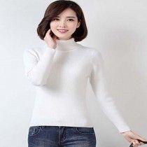 Classic White Autumn Winter High Necked Skiwi Sweater