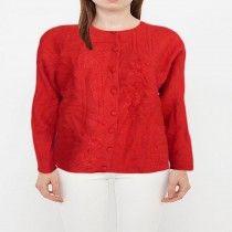 Koret Hot Red Women Crew Neck Buttoned Sweater