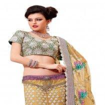 Light Purple Colored Net Embroidered Lehenga Choli