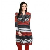 SASSY RED MULTI STRIPES NEHRU COLLAR WOOLLEN KURTI WITH WARM LEGGING