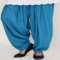 Turquoise Blue Cotton Patiala Salwar