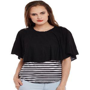 Women Stripe Black Ribbon Poncho