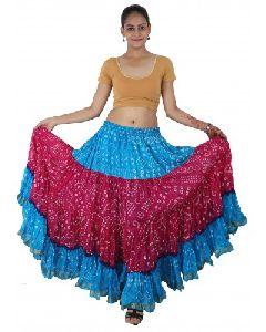 Yard Art Silk Blended Polka Dot Jaipuri Skirt