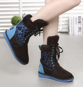 Blue Patchwork Pu Boots