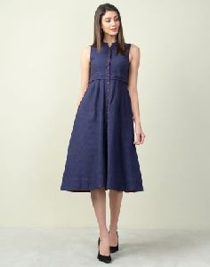Women Cotton Bana Button Down Dress