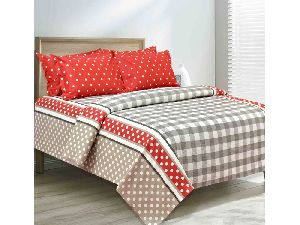 Cotton Checked Double Bedsheet Set