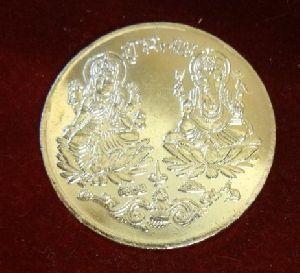 Gold Plated Laxmi Ganesh Coin With Shree Yantra