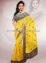 Yellow Designer Bhagalpuri Silk Saree