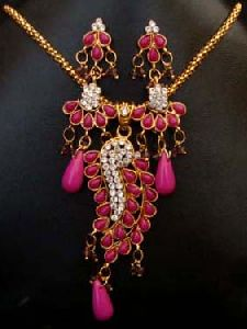 Gold Plated Indian Polki Jewelry Pendant Set