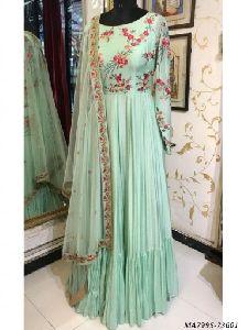 Blue Satin Embroidery Ceremony Anarkali Salwar Kameez