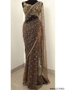 Brown Net Hand Work Wedding Designer Saree