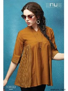 Brown Rayon Printed Western Wear