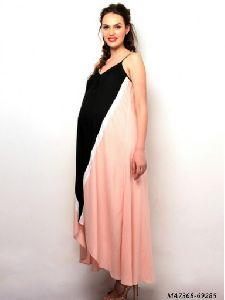 Peach Cotton Self Party Maternity Wear