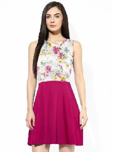 Pink Net Printed Party A-line Dress