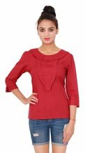 Casual Cotton Plain Dyed Women's Maroon Top