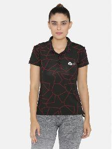 Collar Neck Short Sleeve Yoga Training Gym T-shirt Black