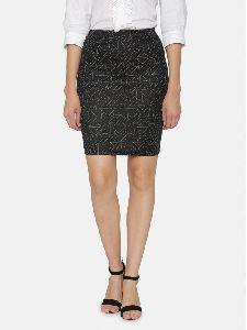 Formal Knee Hemline Back Vent Knitted Pencil Skirt