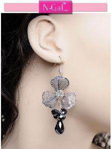 Silver Beaded Flower Earrings