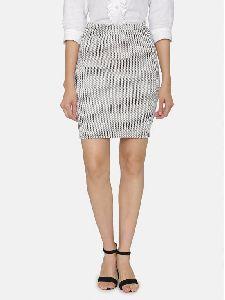 Stripes Print Formal Knee Hemline Back Vent Knitted Pencil Skirt