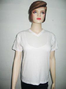 Cotton Ladies V-neck T-shirt
