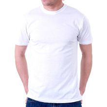 Semi Combed Cotton Men White T-shirt