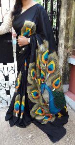 Hand Printed Malmal Cotton Saree