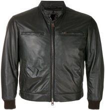 Black Zipped Bomber Leather Jacket
