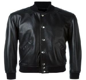 Shining leather bomber jacket