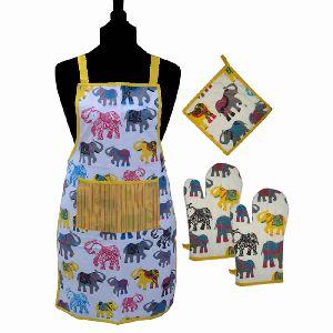 Elephant Printed Kitchen Linen Apron Gloves Pot Holder