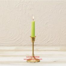 Small Gold Metal Pillar Candle Holder