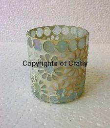Diamond White Mosaic Glass Candle Holder