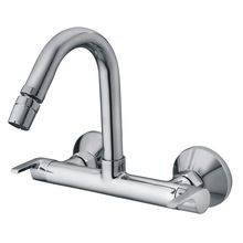 Brass Polished Dual Handle Wall Sink Mixer Kitchen Faucet