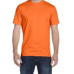 Mens Orange Polyester T-shirt